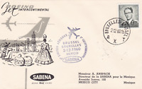 boeing jet 1960 brussels to mexico  flight stamps cover  r15393