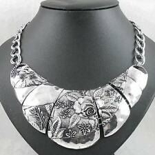 Vintage Design Silver Empaistic Bib Statement Necklace Choker Collar Nickle-Free