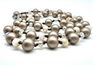 Long Frosted Matte Bronze Color Bead Iridescent Crystals Hand Knotted Necklace