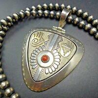 "Vintage NAVAJO Sterling Silver 14K Gold CORAL PENDANT + 24"" Strand NAVAJO PEARLS"