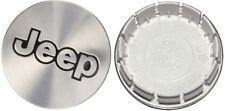 (SET OF 4) 1997-2006 Jeep Brushed Aluminum Black JEEP Logo Center Caps TJ XJ