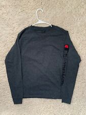 New Champion Mens Long Sleeve T Shirt Grey Red Size Small