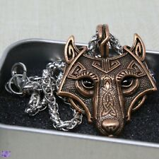 Viking Wolf Head Pendent Necklace - Bronze Colour
