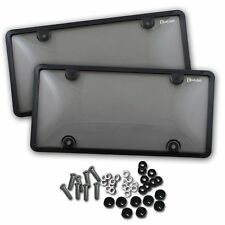Zento Deals 2x Clear Tinted Smoked License Plate Tag Shield Cover and Car Frame