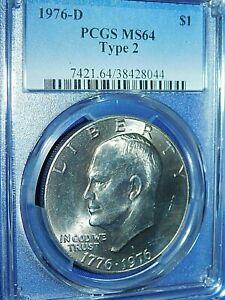"1976-D $1 Type 2 ""Ike"" Eisenhower Dollar-PCGS #7421 Grade MS64 Type 2--232-1"