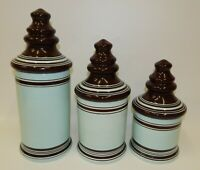 Laurie Gates Casual Collection Cafe Blues Turquoise & Brown Kitchen Canister Set