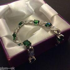 """Plum UK green emerald 7.25""""/18cm silver bracelet (14k white gold filled) BOXED"""