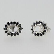 Sterling Silver Semi Mount Earrings Setting Oval OV 7x5mm White Topaz Black Spin