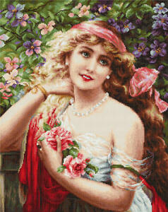 Young Lady with Roses Counted Cross Stitch Kit