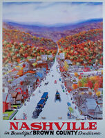 VINTAGE Original TRAVEL POSTER Nashville BROWN COUNTY Indiana W. HAROLD HANCOCK