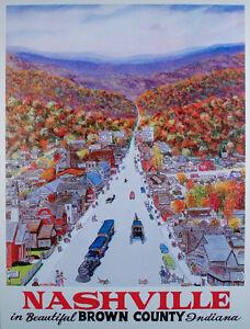VINTAGE Original TRAVEL POSTER Nashville BROWN COUNTY Indiana W. HAROLD HANCOCK