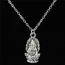 "Vintage Silver Chain Hindu Thailand Buddha Pikanet Ganesh Choker Necklace 18"""
