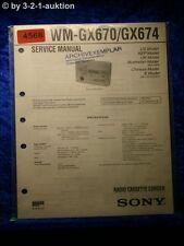 Sony Service Manual WM GX670 /GX674 Cassette Corder (#4568)