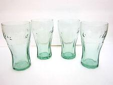 "GENUINE COCA-COLA CONTOUR GREEN SHOT GLASSES 5"" x 2"" (6 OZ) SET OF 4 GLASSES"