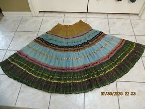 VINTAGE COLDWATER CREEK WOMEN SZE L MULTICOLOR SKIRT-HIPPIE-BOHO-LINED-TIERED