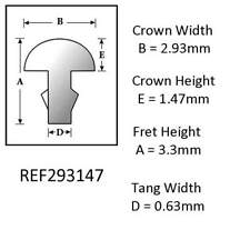 Sintoms 18% Nickel Silver Repair Fret Wire 3.0mm. Set of 12 pieces Tang 0.63mm