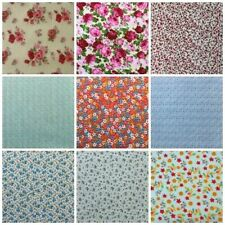 Fat Quarters PolyCotton Fabric Flowers Purple Pink Blue White Green Red Floral