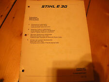stihl E 30, stihl chainsaw illustrated parts list