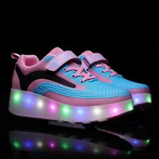 Size 27-43 USB Charging Luminous Sneakers With Double Wheels LED Light Up Shoes
