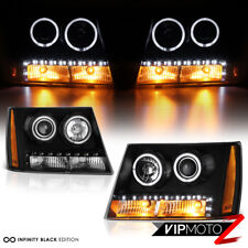 2007-2014 Chevy Tahoe Suburban 1500 2500 Halo LED DRL Projector Headlights Black