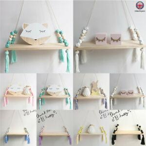 Nordic Style Hanging Tassel Bead Storage Wood Wall Shelf Nursery Kids Home Decor