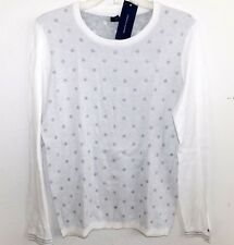 NEW NWT WOMENS LARGE TOMMY HILFIGER SNOW WHITE POLKA DOT GREY SWEATER CREW NECK