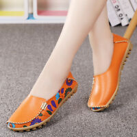 Women's Casual Flat Loafers Driving  Leather Peas Moccasin Go School Work Shoes
