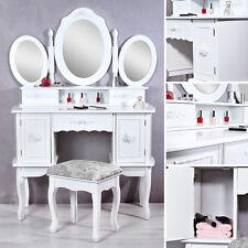 146x10CM Frisierkommode Schminktisch weiß inkl. 3 Spiegel Kosmetik Kosmetiktisch