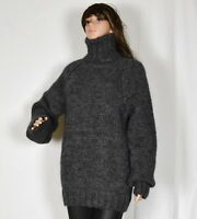 Hand Knitted WOOL MOHAIR women`s sweater with turtleneck LONG soft thick flat