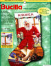 "Bucilla Claus 'N Paws 18"" Counted Cross Stitch Christmas Stocking Kit #84106 Cat"