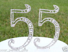 """5"""" Crystal Rhinestone Number 55 Silver Cake Topper Top 55th Birthday Party"""