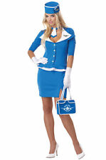 Retro Stewardess Sexy Flight Attendant Halloween Costume 10-12 Large #7475