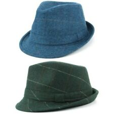 Tweed Trilby Fedora Hat BLUE GREEN Wool Hawkins Fabric Herringbone Men Ladies