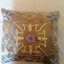 A PAIR OF BEAUTIFUL INDIAN VELVET HAND MADE SEQUINED CUSHION COVERS .