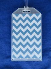 Stylish Chevron Custom Luggage Tags Set of 2 - Horizontal Blue - Bag Id Name
