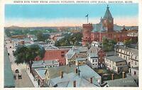 Brockton MA~Birdseye From Anglin Bldg~Rooftops Down Street~1920s Postcard