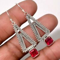 Artisan - Ruby - India 925 Sterling Silver Earrings Jewelry AE17603