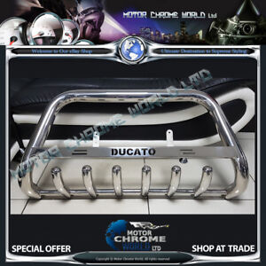 For FIAT DUCATO BULL BAR CHROME AXLE NUDGE A-BAR 1994-2006 ENGRAVED LOGO NEW