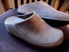 FitFlop Womens sz 8 M Gogh Moc Open-Back Clogs Gray Suede Leather Shoes Slip-On