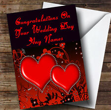 Red Diamond Heart Romantic Personalised Wedding Day Greetings Card