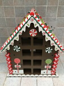 Gingerbread House Christmas Advent Calendar. Wooden Good/Very Good Condition