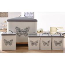 5 Piece Canister Set Bread Biscuit Coffee Sugar Tea Metal Storage Bin Grey White