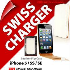 Swiss Charger Bianco VERA PELLE Custodia Cover Flip per iPhone 5 / 5S / SE