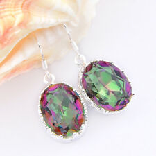 Multi-Colored Square Fire Mystic Topaz Silver Plated Dangle Earrings 1 1/2 Inch