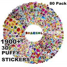 Stickers for Kids 1900+, 80 Different Sheets, 3D Puffy Stickers, Bulk Kids for