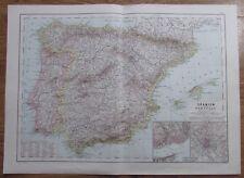 Karte aus 1889 - Spanien und Portugal - alte Landkarte old map