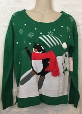 Christmas Sweater Penguin on Ski Slopes Green background Small S NWT