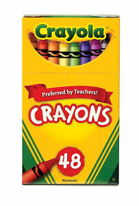 Crayola Standard Size Crayons in Hinged Top Box, Set of 48