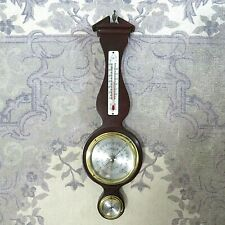 "Vintage Airguide Banjo Style Mahogany Mid Century Weather Station Barometer 19"""