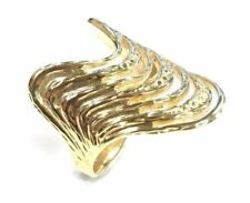Inspired Wavy Style V Ring R23 14 Karat Yellow Solid Gold Vintage